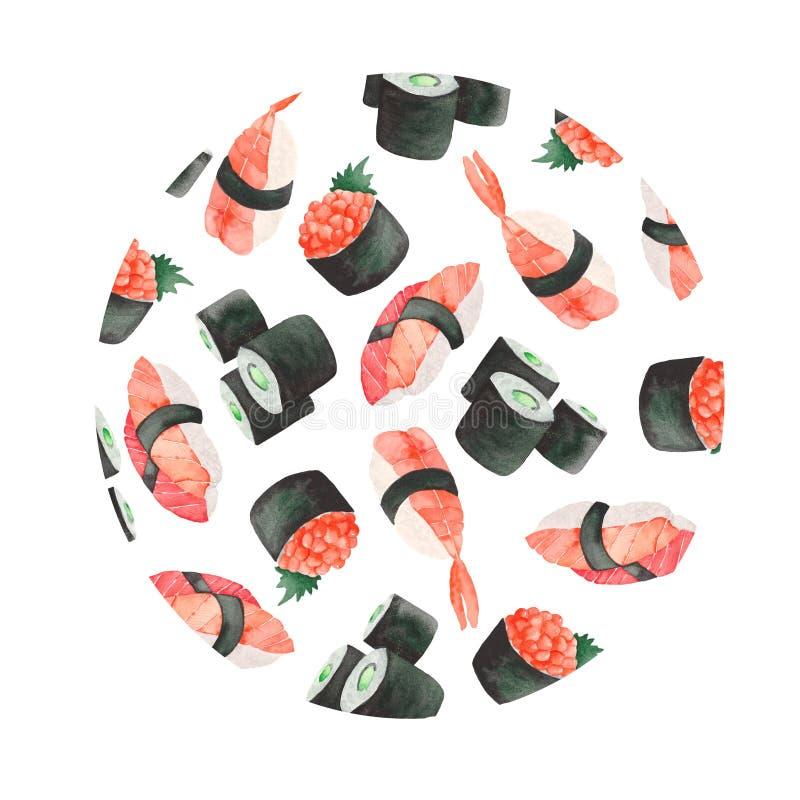 Aquarela ajustada com um quadro do sushi japon?s do alimento ilustração stock