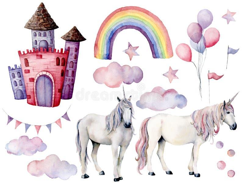 Aquarela ajustada com unicórnios e decoração do conto de fadas Cavalos mágicos pintados à mão, castelo, arco-íris, nuvens, estrel ilustração stock