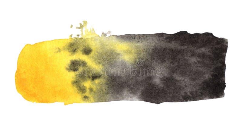 Aquarela amarela preta arte de pintura espirrada fotografia de stock royalty free