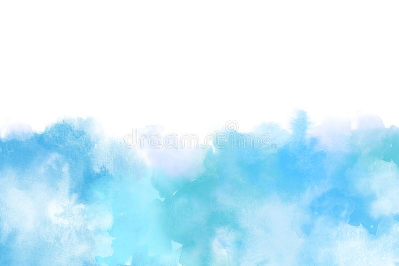 Aquarela artística azul Backround isolado no branco ilustração royalty free
