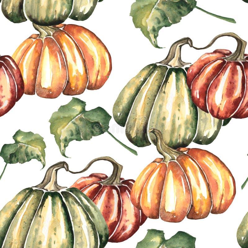 Aquarela Autumn Paterrn brilhante com abóboras e folhas ilustração do vetor