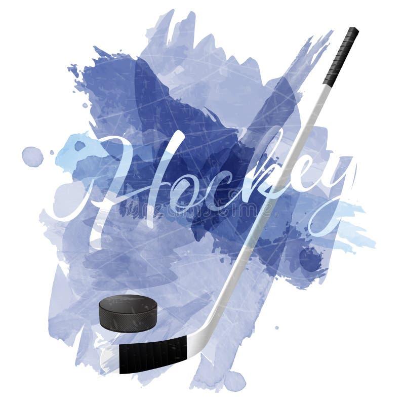 A aquarela azul abstrata espirra com o equipamento do hóquei em gelo ilustração stock