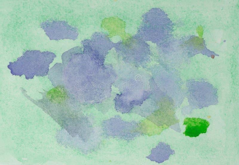 Aquarela azul e roxa, abstrata verde do fundo fotos de stock