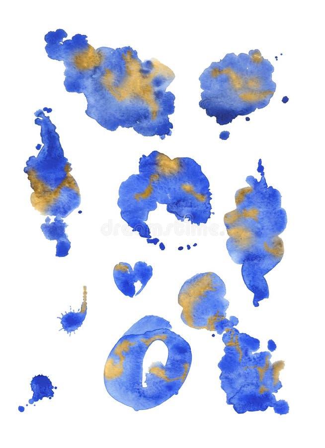 A aquarela azul espirra isolado em um fundo branco fotografia de stock royalty free