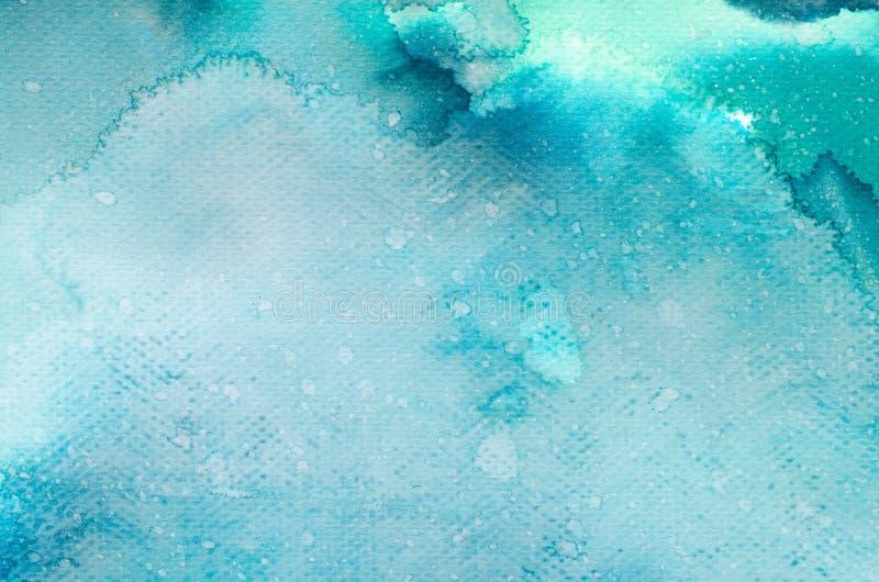 Aquarela azul textura pintada do fundo ilustração stock