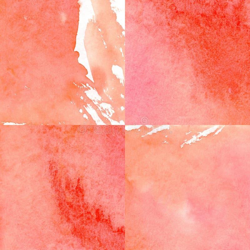 A aquarela bonita ajustou-se na paleta coral, fundo geométrico, papel de envolvimento fotografia de stock royalty free