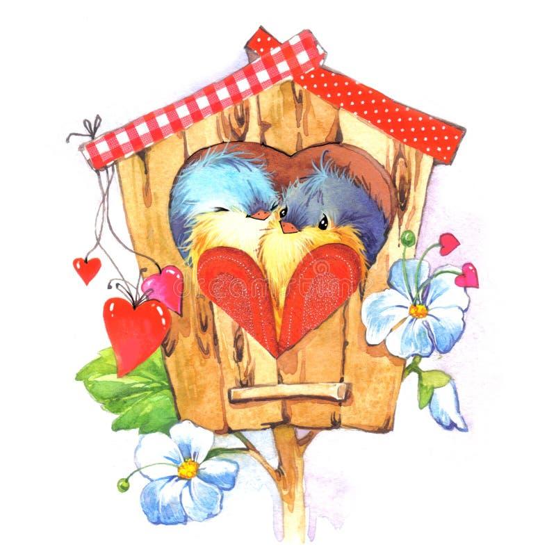 Aquarela bonito da ilustração do pássaro e do coração ilustração royalty free