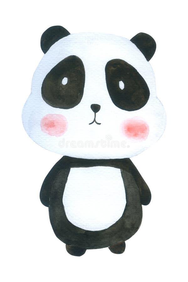 A aquarela bonito da panda isolada no fundo branco, caráter tirado mão para crianças, cartão, casos projeta, ilustração royalty free