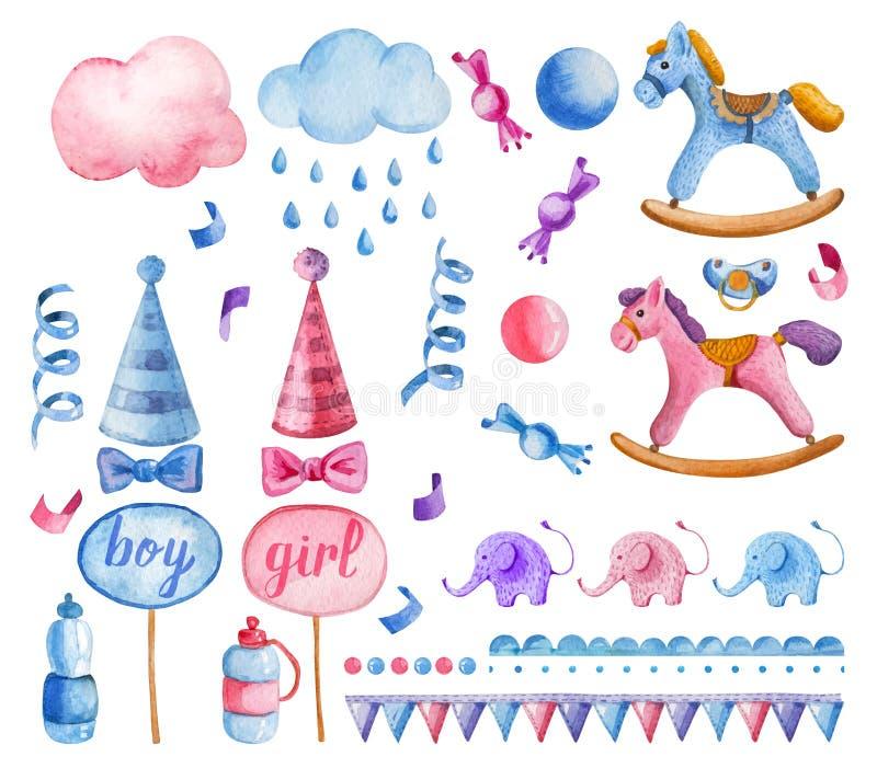 Aquarela bonito das crianças ajustada para a festa do bebê ilustração royalty free