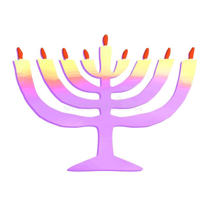 Aquarela Chanukiah Feriado judaico Hanukkah Ilustração do vetor no fundo isolado ilustração royalty free