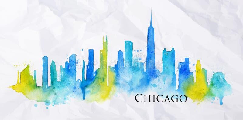 Aquarela Chicago da silhueta ilustração stock