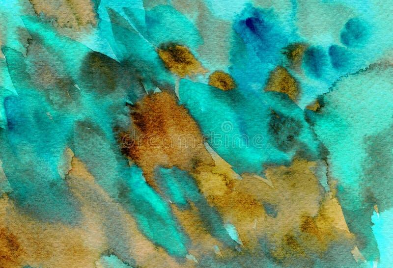 A aquarela colorida abstrata espirra, gotas, fundo das manchas da escova Turquesa pintado à mão, textura marrom para as tampas, e ilustração do vetor
