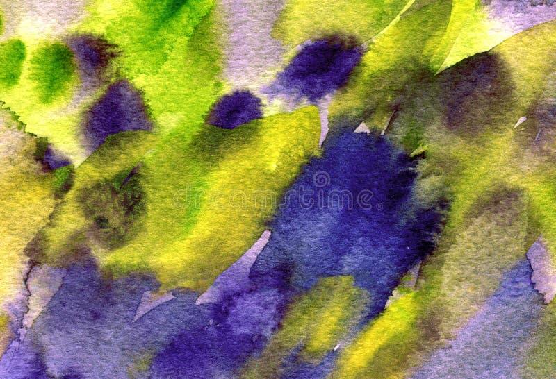 A aquarela colorida abstrata espirra, gotas, fundo das manchas da escova Verde pintado à mão, textura roxa para as tampas ilustração do vetor