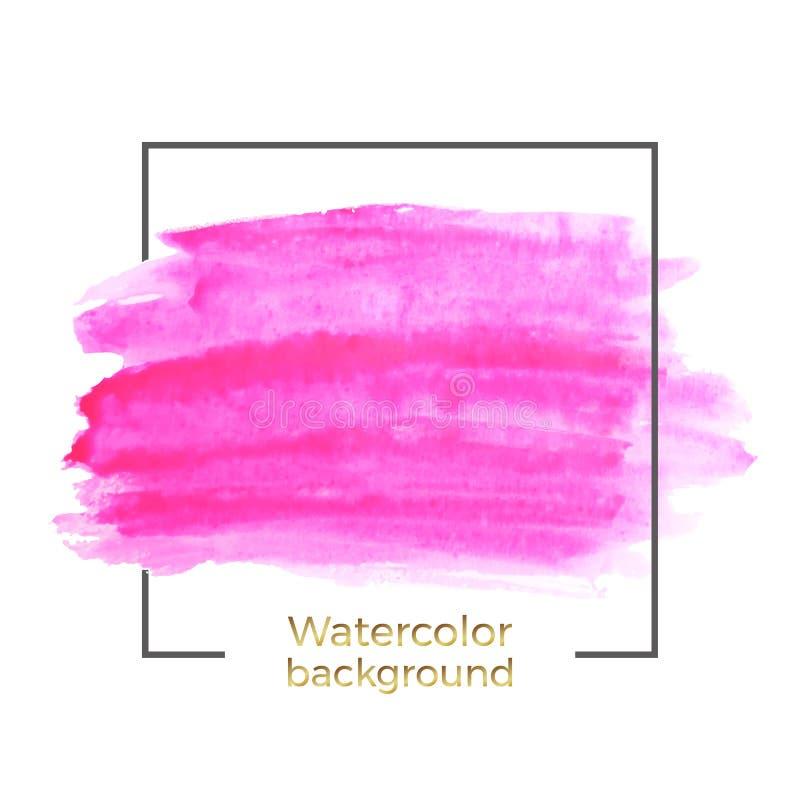 A aquarela cor-de-rosa abstrata no fundo branco, respingo com quadro quadrado, sumário da tinta fluida, acrílico seca cursos da e ilustração royalty free