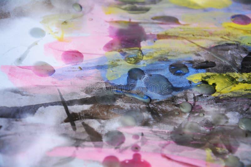 Aquarela cor-de-rosa azul pastel e cera, fundo abstrato imagens de stock