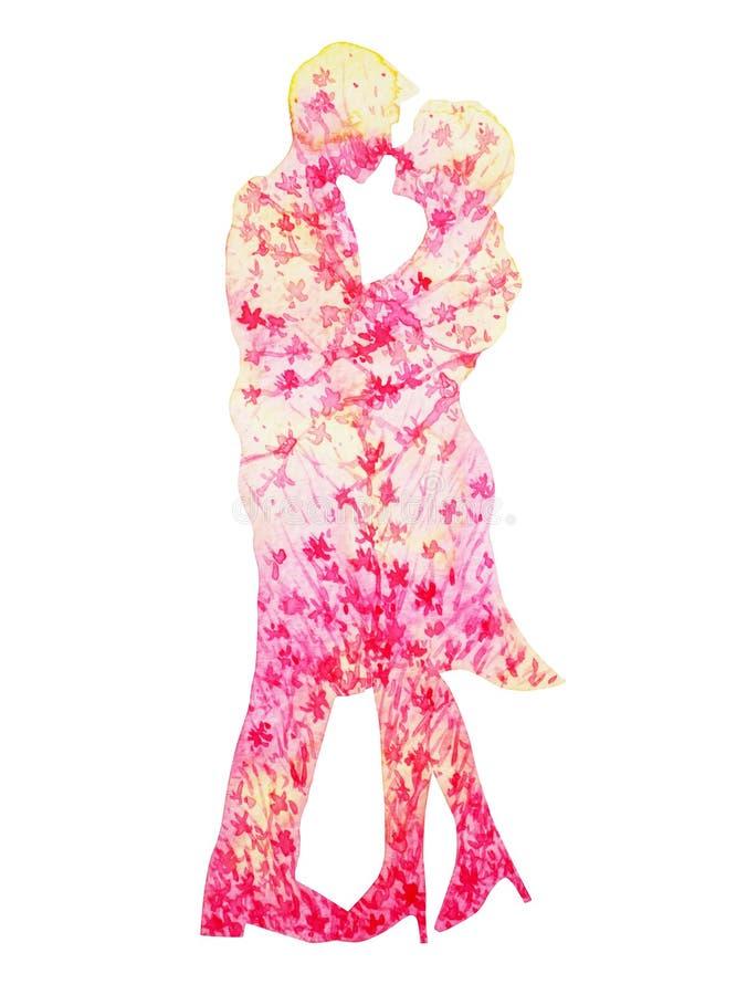 Aquarela cor-de-rosa dos amantes dos pares que pinta a flor floral romântica ilustração stock