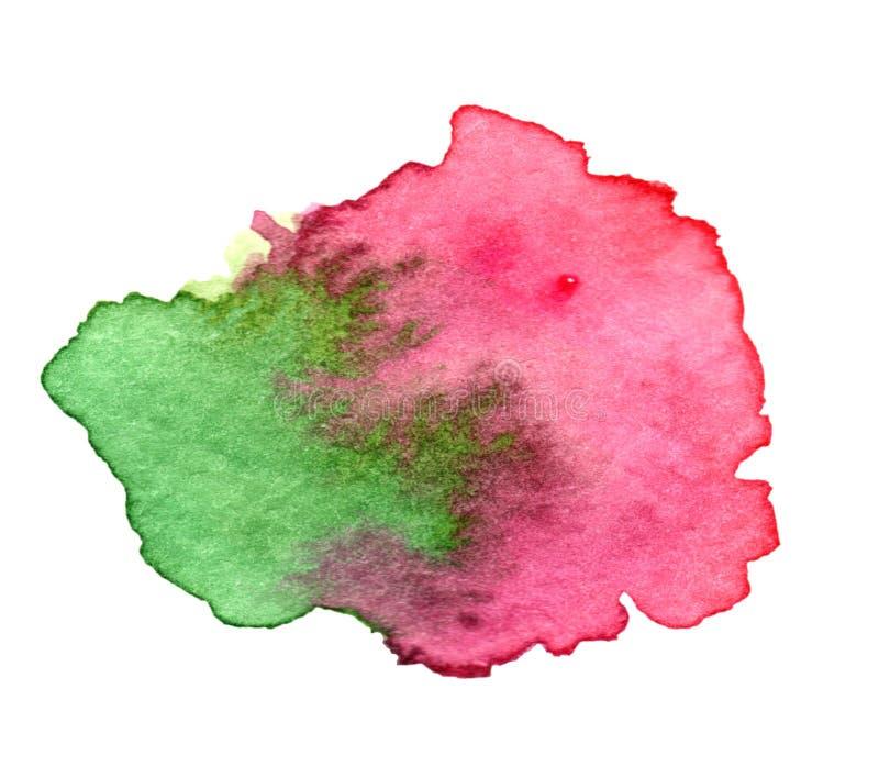 Aquarela cor-de-rosa e verde arte de pintura espirrada imagens de stock
