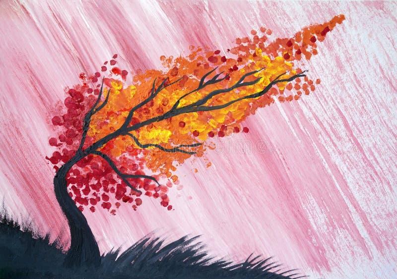 Aquarela da árvore do outono da chuva do temporal ilustração stock