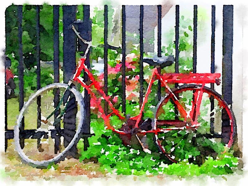 Aquarela da bicicleta holandesa vermelha das senhoras que inclina-se contra a porta ilustração royalty free