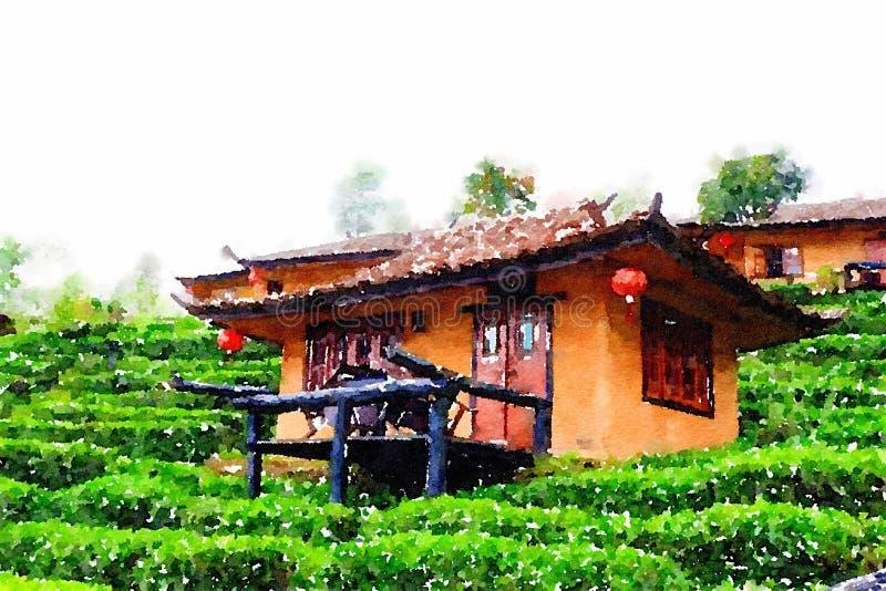 Aquarela da casa chinesa no jardim da natureza ilustração stock
