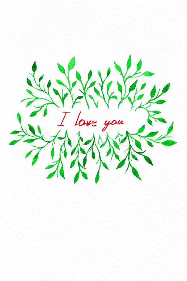 Aquarela da flor Cartão com as folhas da cor de água Pelo Valentim do St imagem de stock
