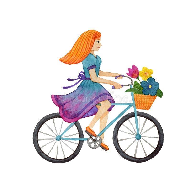 Aquarela da menina na bicicleta ilustração royalty free