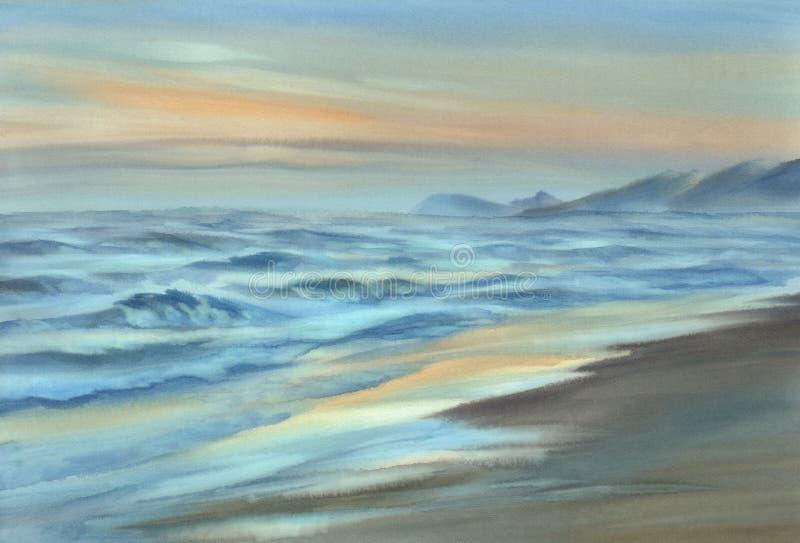 Aquarela da opinião do beira-mar da noite ilustração stock
