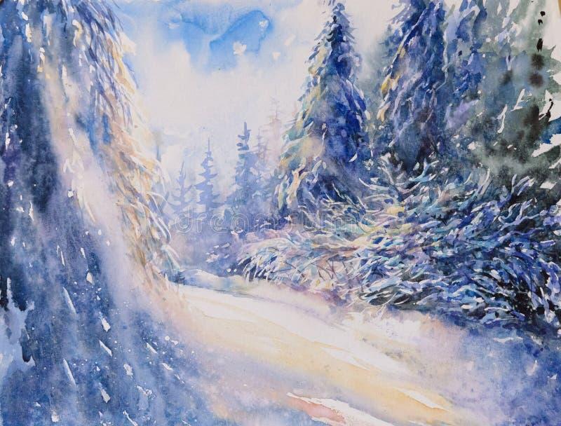 Aquarela da paisagem do inverno pintada imagem de stock royalty free