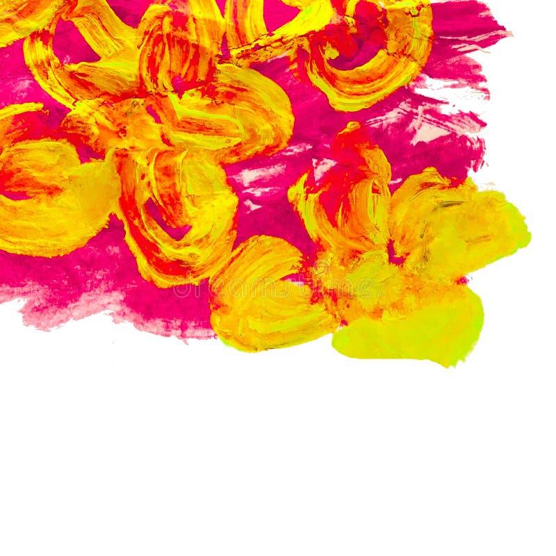 A aquarela da pintura floresce o sumário amarelo ilustração do vetor