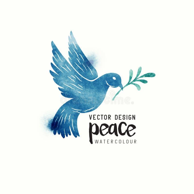 Aquarela da pomba da paz ilustração royalty free