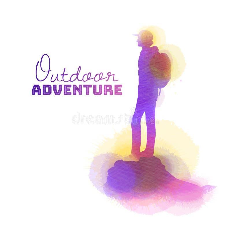 Aquarela da posição do homem sobre a montanha Viajantes que viajam nas montanhas Pintura da arte de Digitas fotos de stock