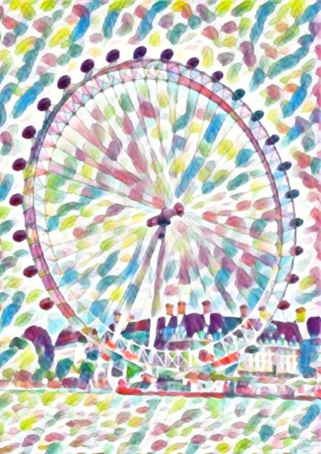 Aquarela da roda de ferris do olho de Londres imagens de stock