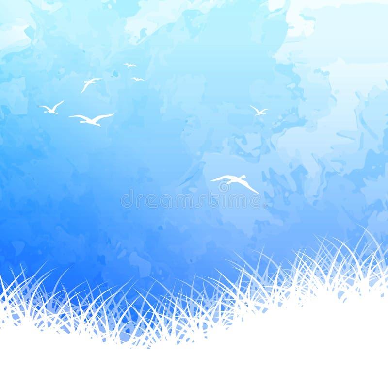 Aquarela da silhueta do pássaro do céu ilustração do vetor