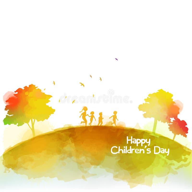 Aquarela das crianças felizes que correm junto Dia feliz do ` s das crianças ilustração stock
