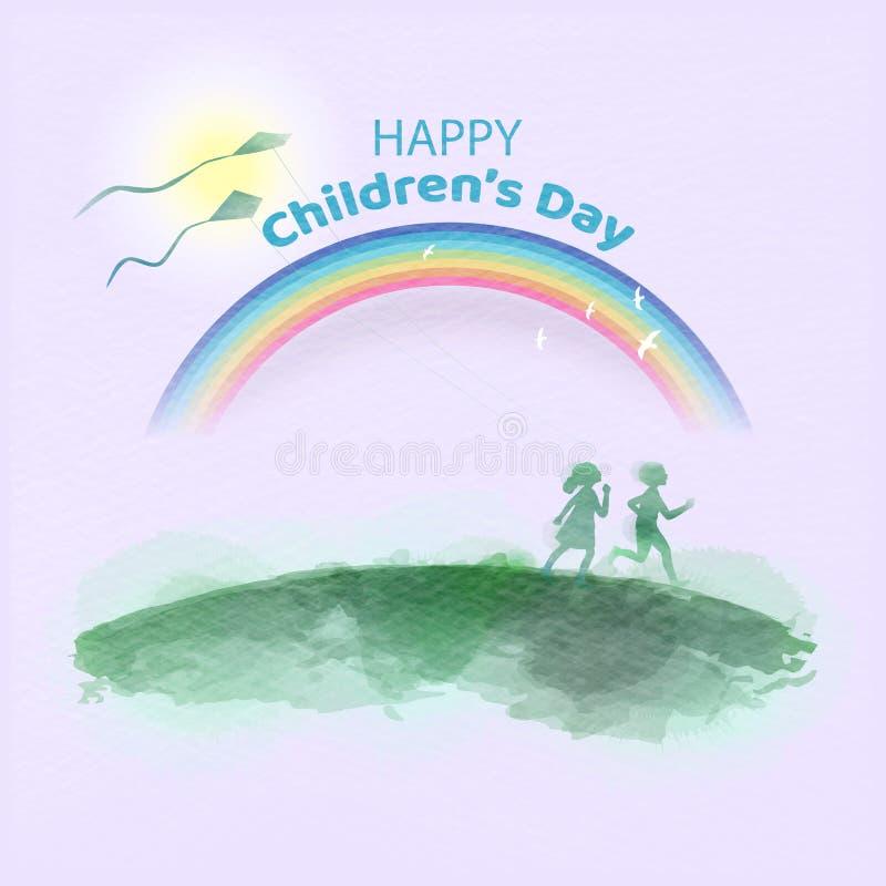 Aquarela das crian?as felizes que correm junto Dia feliz do ` s das crian?as ilustração royalty free