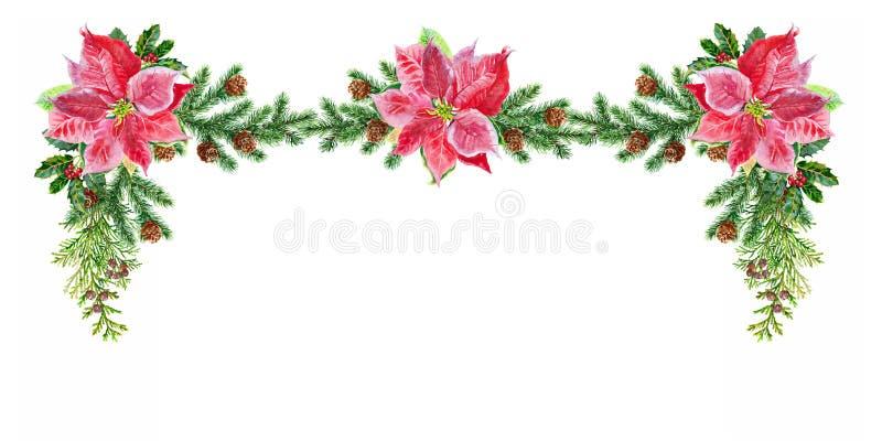 Aquarela das decorações do Natal Imagem da aquarela ilustração do vetor