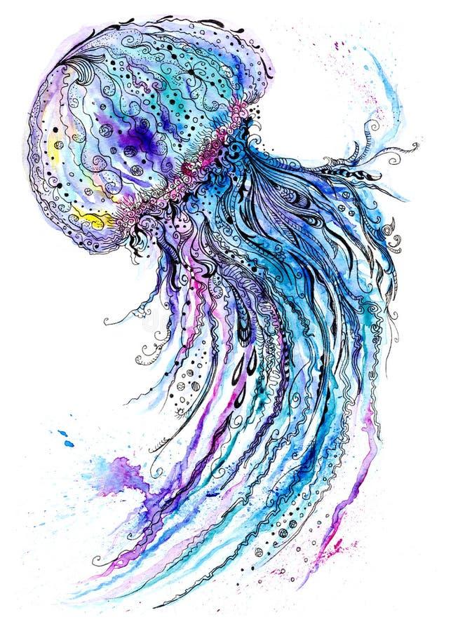 Aquarela das medusas e pintura da tinta ilustração stock
