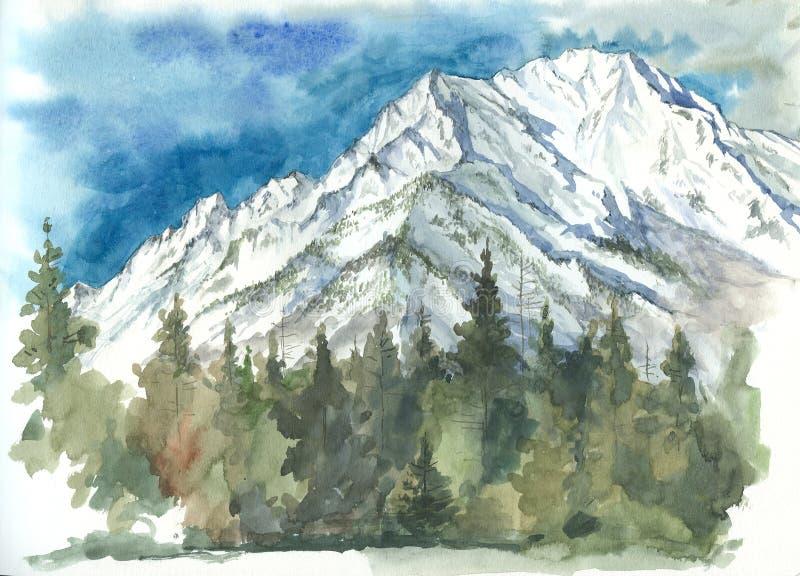 Aquarela das montanhas e das florestas do Sayan oriental imagem de stock royalty free