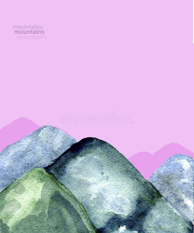 A aquarela das montanhas espirra da ilustração geométrica do clipart da ilustração da textura o rosa geométrico de tiragem verde  ilustração stock