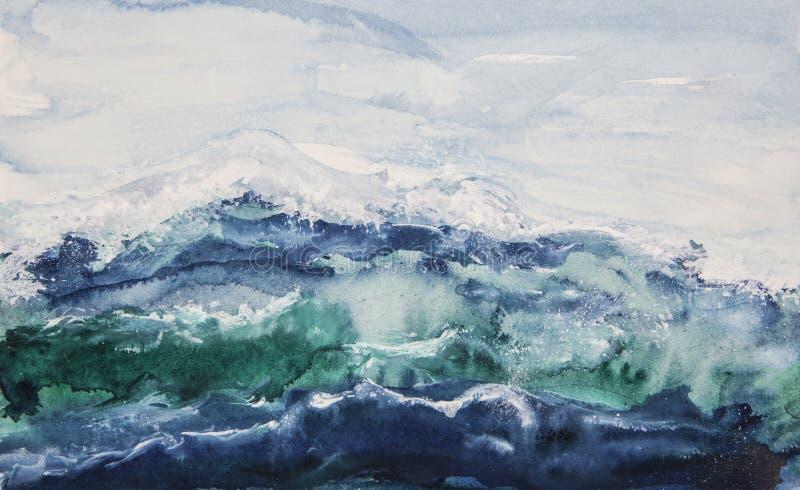 Aquarela das ondas de oceano foto de stock royalty free