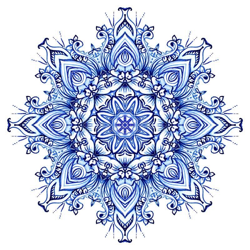 Aquarela de Clipart.  redondo do teste padrão do laço do Doily ilustração do vetor