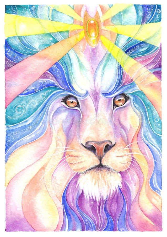 Aquarela de Lion Drawing e lápis colorido ilustração royalty free