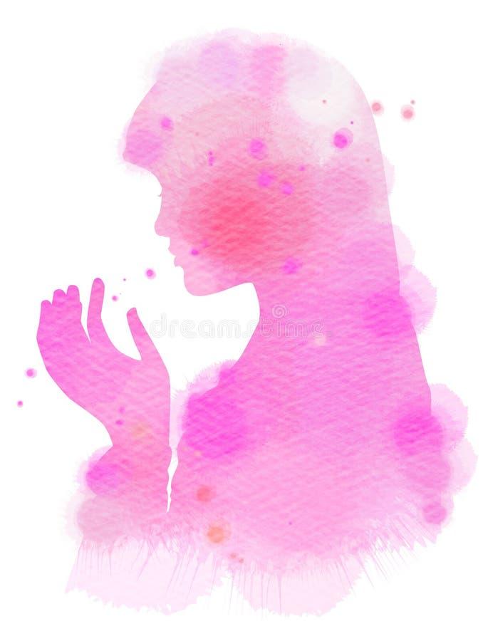 Aquarela de rezar muçulmano religioso da menina Paintin da arte de Digitas ilustração royalty free