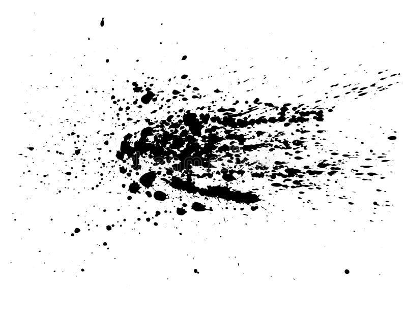 Aquarela de tinta preta abstrata do respingo, textura do pulverizador da aquarela do respingo isolada no fundo branco ilustração do vetor