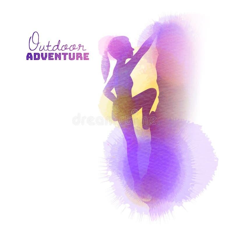 Aquarela de uma opinião lateral um montanhista de rocha da jovem mulher Conceito exterior da aventura ilustração do vetor
