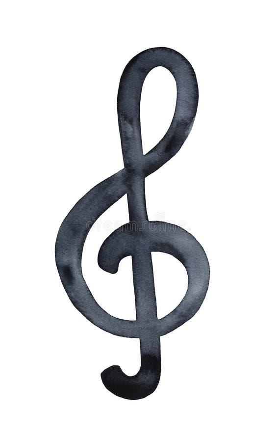 Aquarela decorativa do símbolo artístico da clave de sol ilustração do vetor