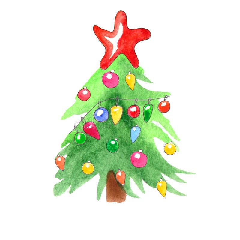 A aquarela decorou a árvore de Natal isolada no fundo branco ilustração stock