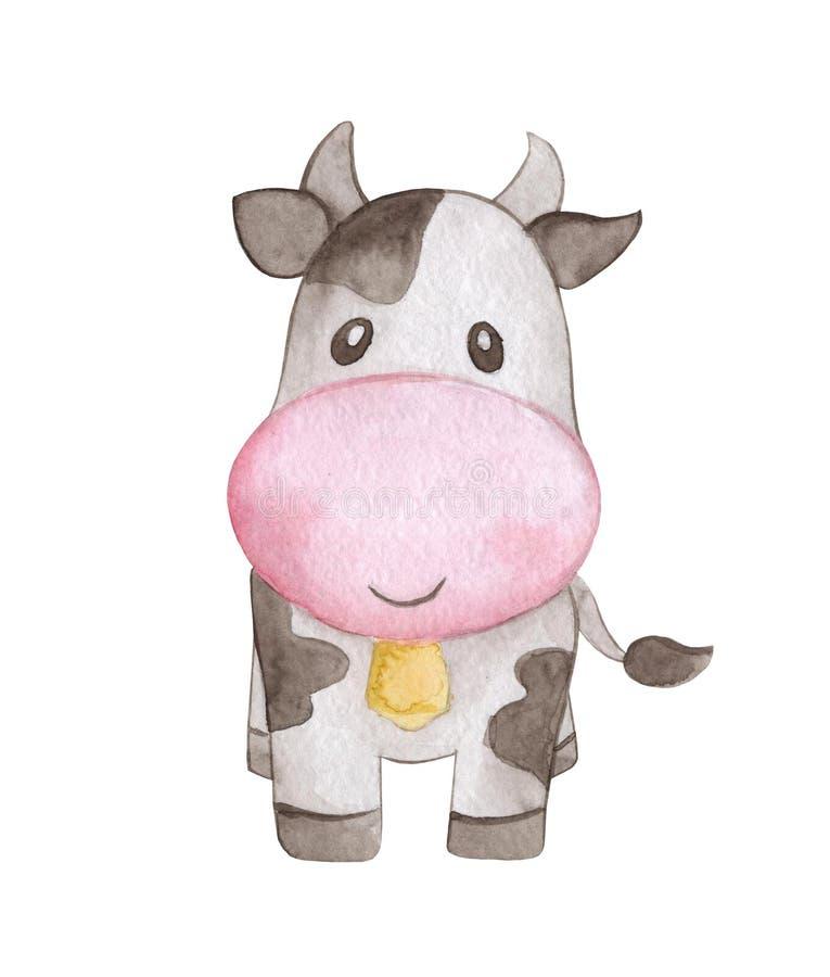 Aquarela do animal de exploração agrícola da vaca Pintado à mão isolado ilustração royalty free