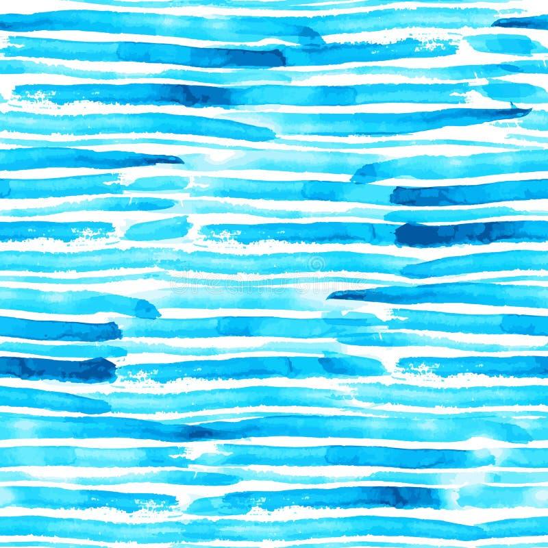 A aquarela do azul e da turquesa escova o teste padrão sem emenda do vetor das listras do curso ilustração do vetor