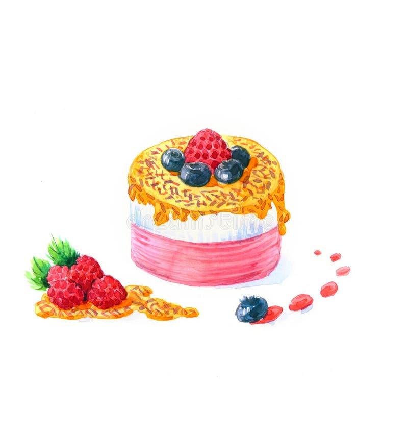 A aquarela do bolo da sobremesa da forma redonda do bolo fotos de stock